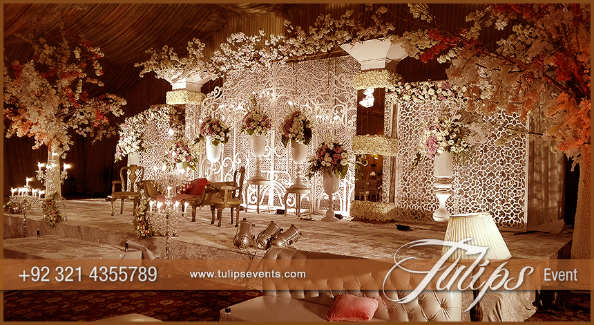 Best thematic wedding planner flower stage decoration lighting white crystal wedding setup junglespirit Images